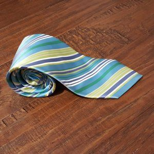 Ted Baker Blue Green Yellow Diagonal Stripe Silk